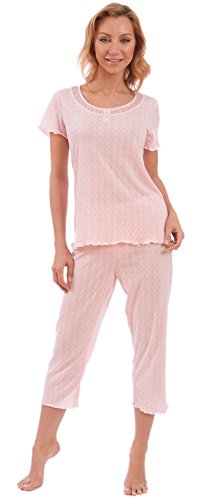 Patricia Women's Adorable Flutter Sleeve Top and Capri Pajama Set (Pink Crinkle Knit, M) Silk Flutter Sleeve Top