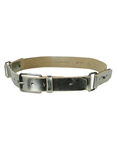 Calvin Klein Women's Metallic Strapped Leather Belt Gunmetal (Small)