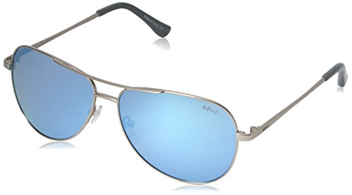 Revo Sunglasses Revo Re 5015 Johnston Polarized Aviator Sunglasses, Satin Silver Blue Water, 58 - Polarized Revo