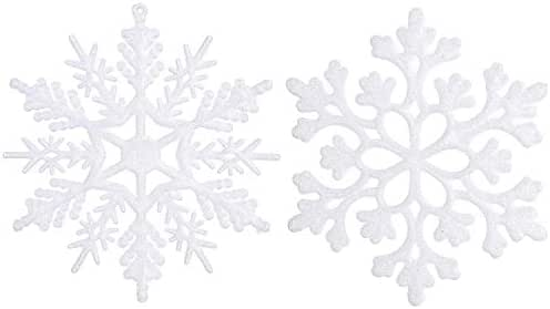 Sea Team Plastic Christmas Glitter Snowflake Ornaments Christmas Tree Decorations, 4-inch, Set of 36, White