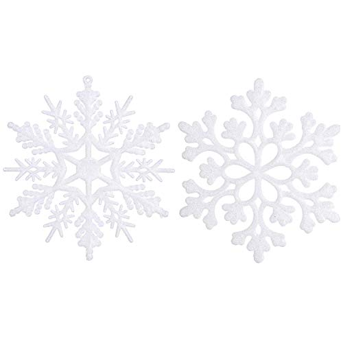 - Sea Team Plastic Christmas Glitter Snowflake Ornaments Christmas Tree Decorations, 4-inch, Set of 36 (4