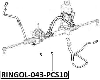 Hydraulic Power Steering Hose O-Ring Set Pcs 10 Febest RINGOL-043-PCS10 Oem 931