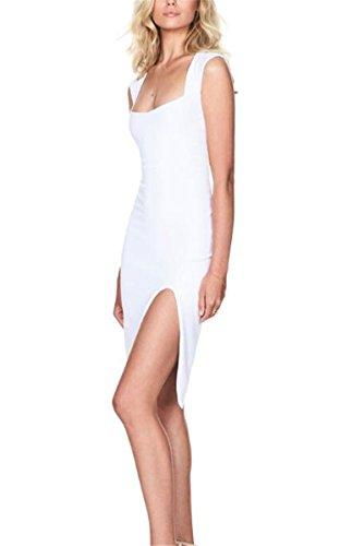 Fessura Bianco Donne Allonly Alta Maniche Del U Irregolare A Sinistra Collare Vestito Di Fascia Sexy collo 7qwd1Z4q