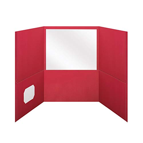 Oxford Tri-Fold Pocket Folders, Letter Size, Red, Interior Business Card Holder, 20 Per Box (59811)	2