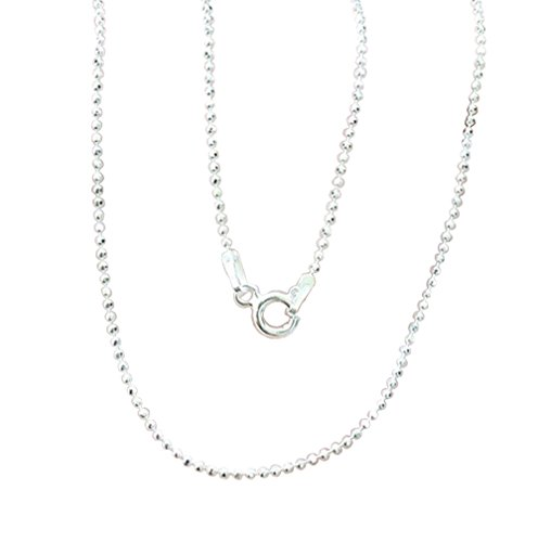 Brand New 925 Stering Silver Bead Round Ball Facet Cut Italian Style Chain 1 mm. x 18