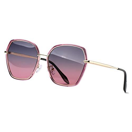 REBSUN Oversized Sunglasses for Women Polarized UV Protection Big Square Black Designer Sunglasses Fashion Women ()