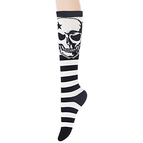 - Sockstheway Women's Casual Knee High Socks Skull Pattern Multicolor Fashion Socks(Line Skull, White, 1Pair)