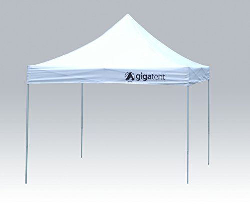 (GigaTent White Pop Up Canopy 10' x 10' - Rain and Waterproof, Fire Retardant, Adjustable Height Up to 130