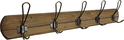 """Rustic Coat Rack Wall Mounted - Premium Quality, Handmade in USA by Acacia Grove - 5 Distressed Hooks, 28"""" Length - Weathered Barnwood Decor for a Farmhouse Entryway, Kitchen, Office, Bathroom"""