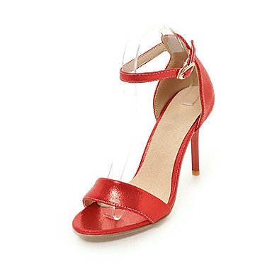 pwne Zapatos De Mujer Sandalias Comfort Polipiel Primavera Verano Otoño Office &Amp; Carrera Stiletto Talón Hebilla Casual Vestido Rojo Negro Oro Plata 3A-3 3/4 Pulg. US8.5 / EU39 / UK6.5 / CN40