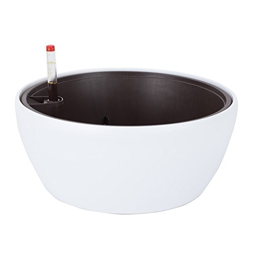 (Vencer 11 Inch Plastic Round Self Watering Planter,Water Indicator,Modern Decorative Planter Pot for All House Plants Flowers, Herbs, Vegetables, Tropical,White,VF-048)
