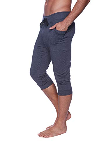 4-rth Cuffed Yoga Pant (M, Solid Charcoal) -
