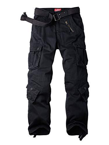 AUSZOSLT Women's Casual Loose Fit with 8 Pockets Cargo Pants Plus Size Camouflage Work Pants Black 38