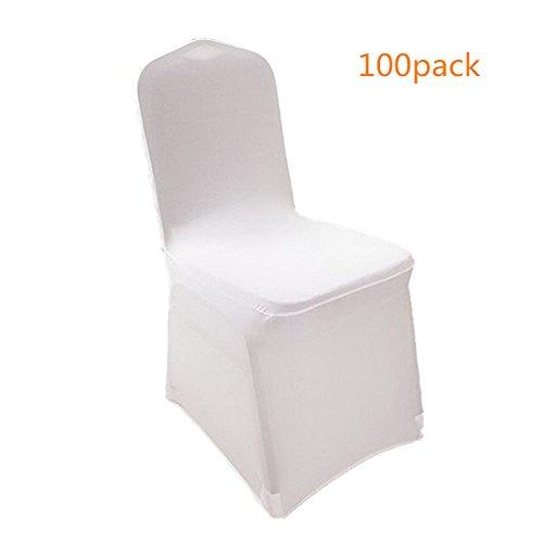 Anfanユニバーサル100個ホワイト椅子カバースパンデックス Slipcovers forウェディング 本物◆ パーティー 宴会のセット 百貨店 B07597YMK6 100