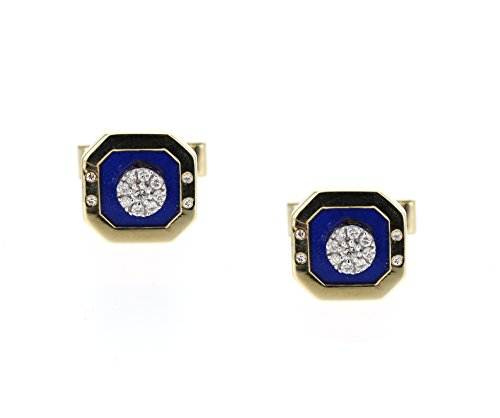 - Cuff Links, 14K Yellow Gold with Lapis and Diamonds. 0.70Ct Tcw