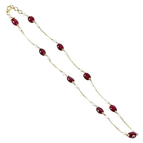 Pearl & Ruby Gemstone Necklace 18k Gold Chain Designer Necklace Jewelry by Jaipur Handmade Jewelry