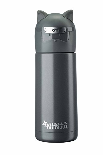 Landrind Portable Thermos Travel Mug Cute Design Vacuum Insulated Stainless Steel Thermos Water Bottle, Mini Size Coffee Thermos & Vacuum Flask (300 mL, NINJA & Grey) (Mini Vacuum Coffee compare prices)