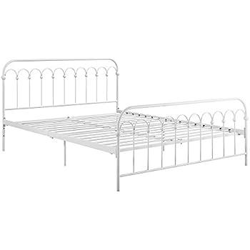 "Novogratz Bright Pop Metal Bed, Adjustable Height for Underbed Storage (6.5"" or 11""), Metal Slats Included, Queen, White"