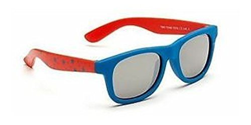 d46a0300fb53 Baby Toddler Blue   Red Wayfarer Sunglasses with Soft Durable Plastic Frame  and Black Smoked Lenses