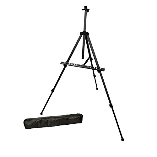 Us Art Supply Black Pismo Lightweight Aluminum Field Easel   Great For Table Top Or Floor Use   Free Carry Bag