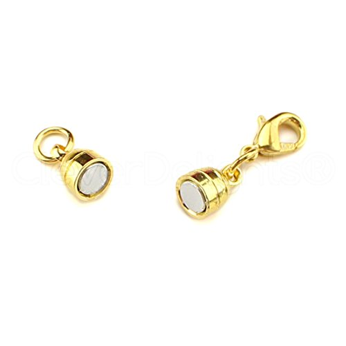 (CleverDelights 8 Magnetic Jewelry Clasps - Gold Color - Capsule Style + Lobster Clasp - Clasp Converter)