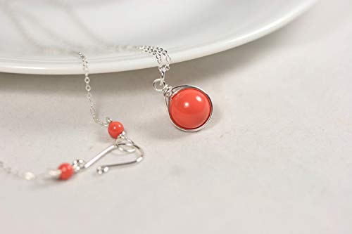 (Sterling Silver Orange Coral Necklace Coral Swarovski Pearl Necklace Wire Wrapped)