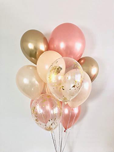 Rose Gold Chrome Gold Peach Blush Gold Confetti Balloon Bouquet. 11 CT Package