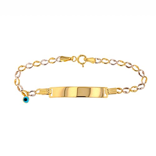 Fine 14k Two-Tone Gold Baby ID Bracelet with Blue Evil Eye 5.5'' by Evil Eye by Jewelry America