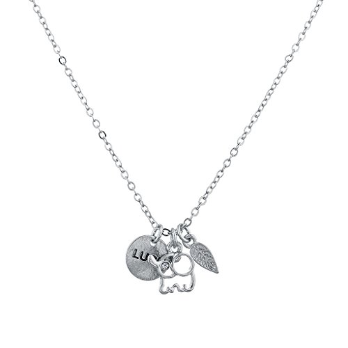[Lux Accessories Silvertone Boho Good Luck Charm Elephant Leaf Verbiage Necklace] (Good Costume Ideas For Two Friends)