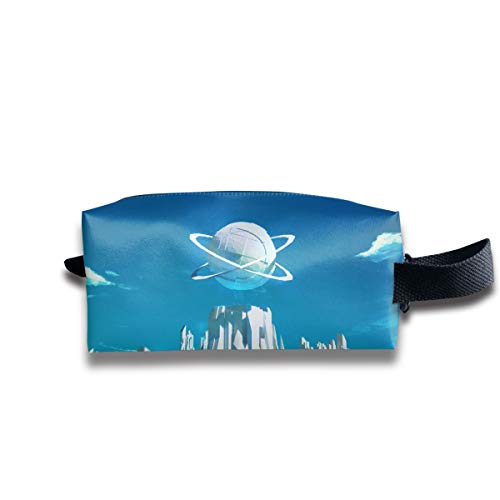 V5DGFJH.B Clash Durable Zipper Wallet Makeup Handbag with Wrist Band Futuristic City Toiletry Bag]()