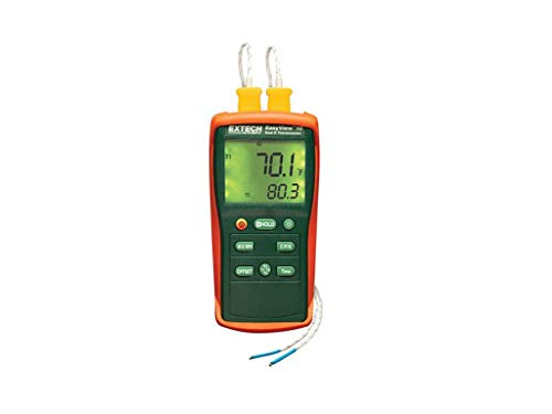 Extech EA10 EasyView -200 Degrees to 1999 Degrees Farenheit and -200 Degree to 1360 Degree Celsius Dual Input Thermometer with 2 Type K Probes