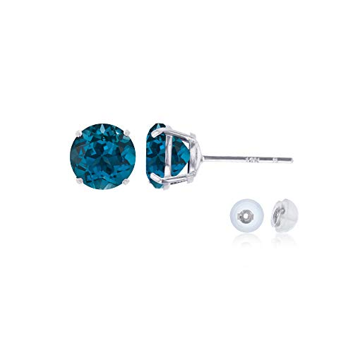 Genuine 14K Solid White Gold 6mm Round Natural London Blue Topaz December Birthstone Stud Earrings