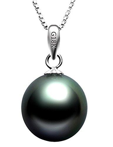 TIKIVILLE 18K White Gold Cultured Round Tahitian Black Pearl Pendant 8-9MM