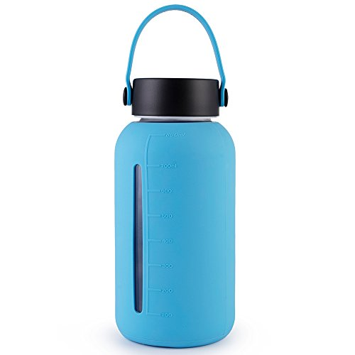 MIU COLOR Large Glass Water Bottle - 30oz Wide Mouth Silicone Sleeve & Stainless Steel Lid Insert Borosilicate Glass Bottles Home Sports Outdoor (Stainless Steel Lid Insert)