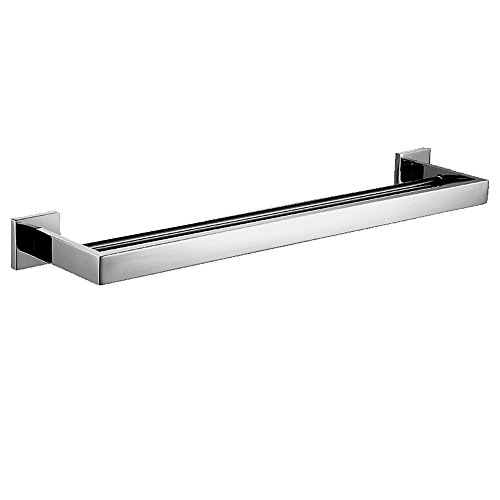 Aimeer SUS 304 Stainless Steel Bathroom Double Towel Bar 24-Inch Square Bath Hanging Storage Organizer Modern Style Wall Mount, Chrome