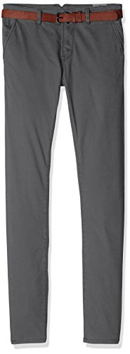 Tom Tailor Denim Solid Skinny Chino with Belt - Pantalones Hombre Gris (Somber Grey 2801)