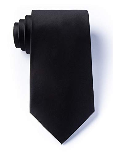 The Essential Black Black Silk Extra Long Tie