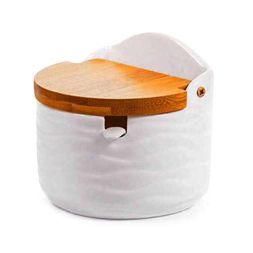 Vencer Sugar Bowl with Sugar Spoon and Bamboo Lid for Home and Kitchen - Modern Design,White,VFO-043 ...