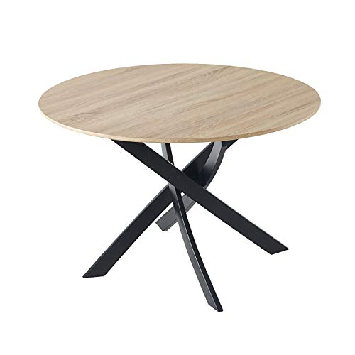Adec - Zen, Mesa de Comedor Redonda, Mesa de Salon, Cocina, Color Roble Salvaje y Negro Mate, Medidas: 100 cm (Diametro) x 75 cm (Alto)
