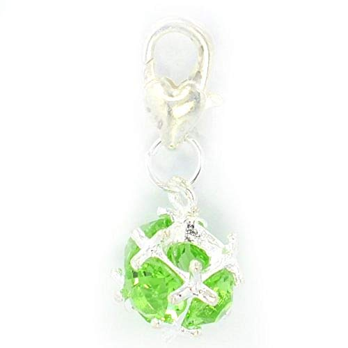 (PJewelry Peridot Green Rhinestone Ball August Birthstone Clip-on Dangling Charm with Heart Clasp for Chain Link Charm Bracelet)