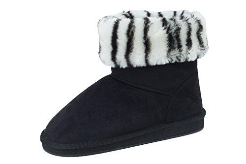 New Women's Short Black Faux Suede Zebra Print Cuff Boots Si