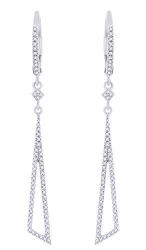 Rount Cut White Natural Diamond Open-Stiletto Dangle Earring in 14K White Gold (0.30 Cttw)