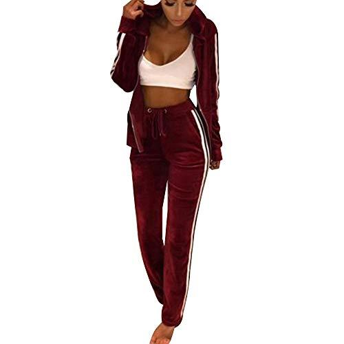 (MINTLIMIT Women's Velour Hoodie+Pant Tracksuit Sport Sweat Suit Set(Wine Red,Size S))