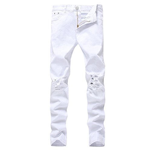 Pishon Men's Distressed Jeans Casual Solid Straight Leg Stretch Skinny Ripped Jeans, White, Tag Size 32=US Size 33 (Men Fit For Slim Jeans Colored)