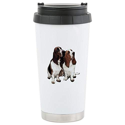 CafePress Basset Hounds Stainless Steel Travel Mug Stainless Steel Travel Mug, Insulated 16 oz. Coffee Tumbler Basset Hound Travel Mug