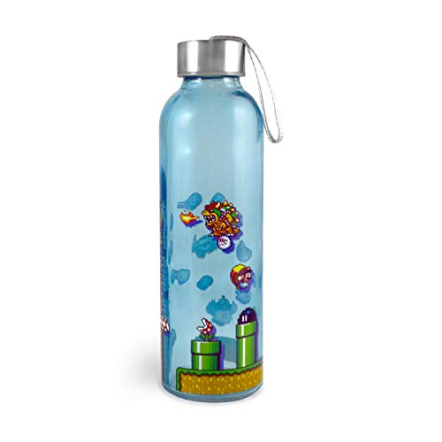 JUST FUNKY Officially Licensed Super Mario 18-Ounce Glass Water Bottle
