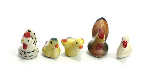 Picture Of A Chicken Costume (Chicken Ceramic Toy Mini Animals Dollhouse Miniatures Figurine set 5 pcs.)