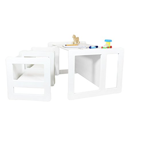 3 in 1 Childrens Multifunctional Furniture Set of 3, Two Small Chairs or Tables and One Large Bench or Table Beech Wood, White Stained by Obique Ltd