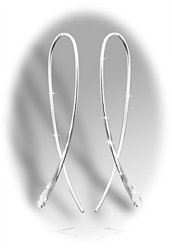 Ribbon Earrings short Sterling - Earrings Ribbon Silver
