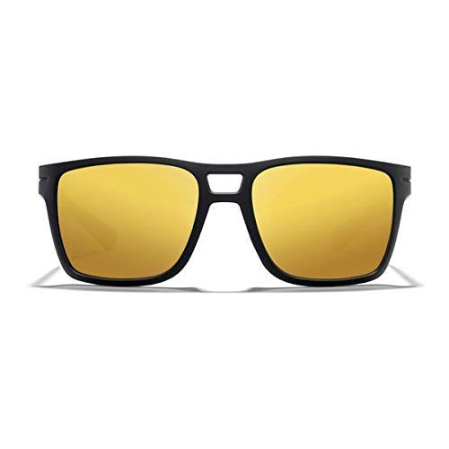 ROKA Kona High Performance Non-Polarized Sunglasses for Men and Women - Matte Black Frame - Bronze Lens w/Gold ()